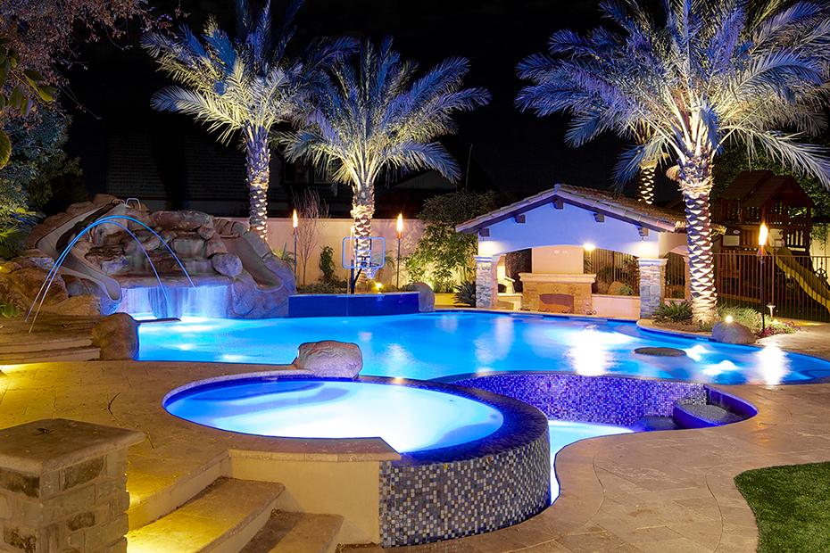 Phoenix freeform lagoon swimming pool spa design photo for Pool design unique