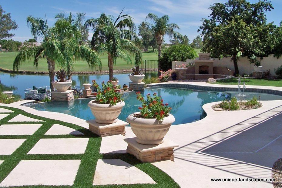 Unique landscapes putting greens artificial turf for Pool design phoenix