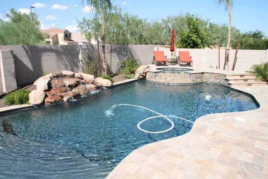 Phoenix swimming pool waterfalls features arizona for Natural pools arizona