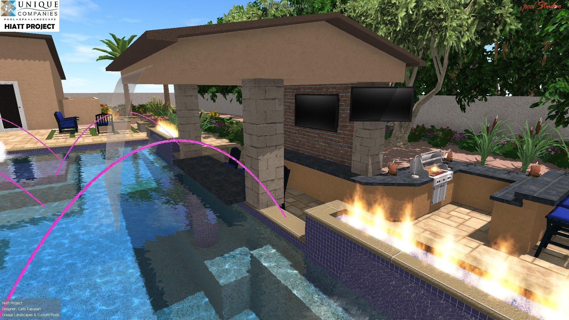 Client designs hiatt phoenix landscaping design pool for Pool design with swim up bar